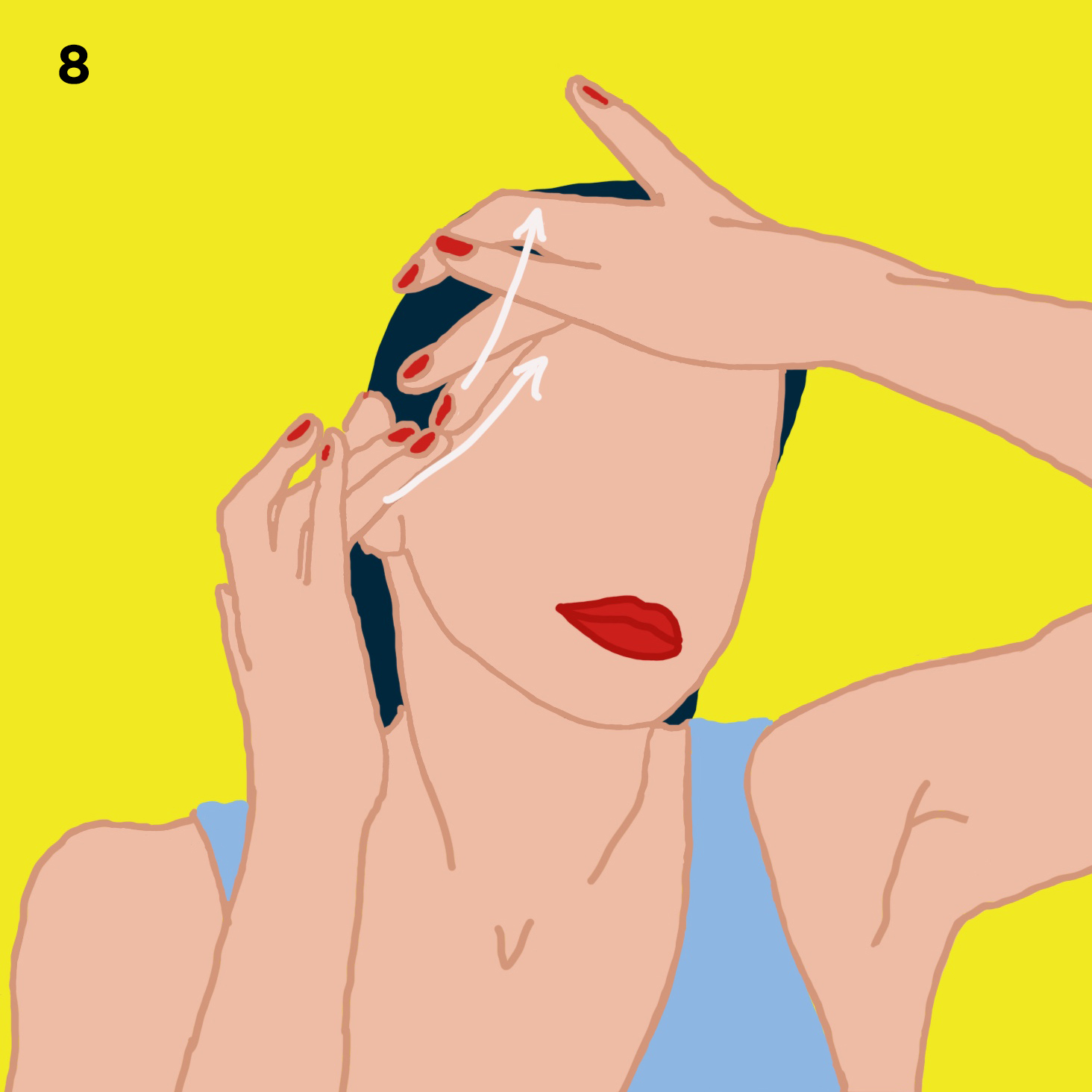 8. YOUR EYES   Massage right under the eyes using your 3 middle fingers along your nose. This is a great massage for puffy eyes and dark circles. Now, move to where the cheekbone and corner of the eyes meet and iron out existing crows feet by using both middle fingers and massaging the side of your eyes in an upwards manner.