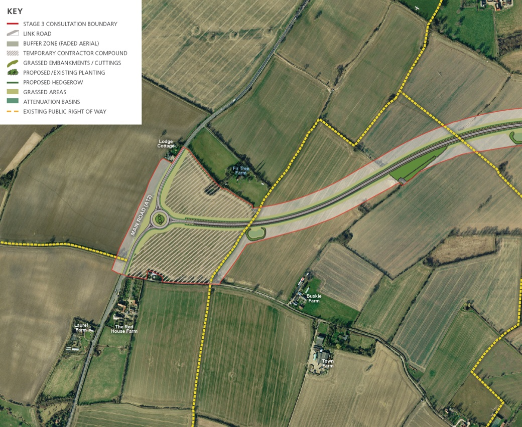 This is taken from the publicly available Sizewell C Development Proposals. The shaded area shows the field where EDF proposes a construction compound for its link road, which will start here with a roundabout. Immediately to the north of the field is Fir Tree Farm