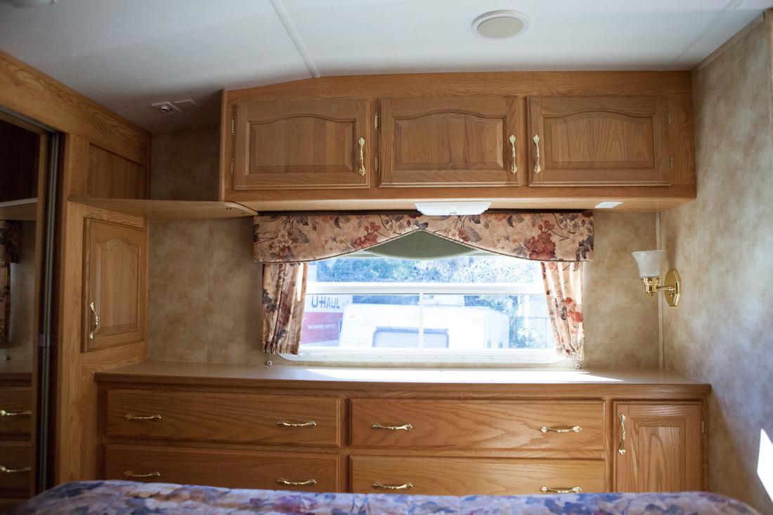 bedroom shelves before camper