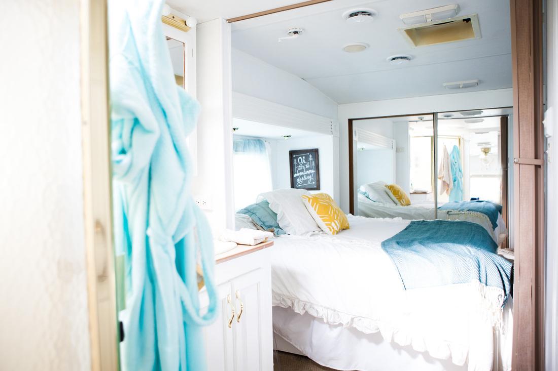camper bedroom after
