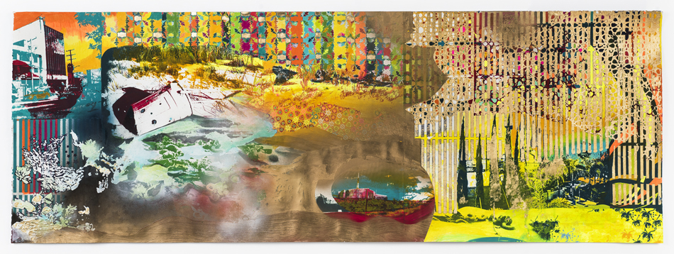 The sun rises over the canyon mixing with ocean air. It lifts a crimson haze on a succulent studded hillside. Palm trees shudder. The ocean hammers the rocks below,  2017 Photo Lithography, Screenprint, colored pencil, oil, acrylic, gold leaf and spray paint on paper 63.75 in W x 23 in H