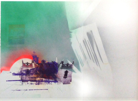 Jai Alai, no longer played here,  2014 Spray paint pochoir, screen print and paper lithography, 22 in H x 30 in W