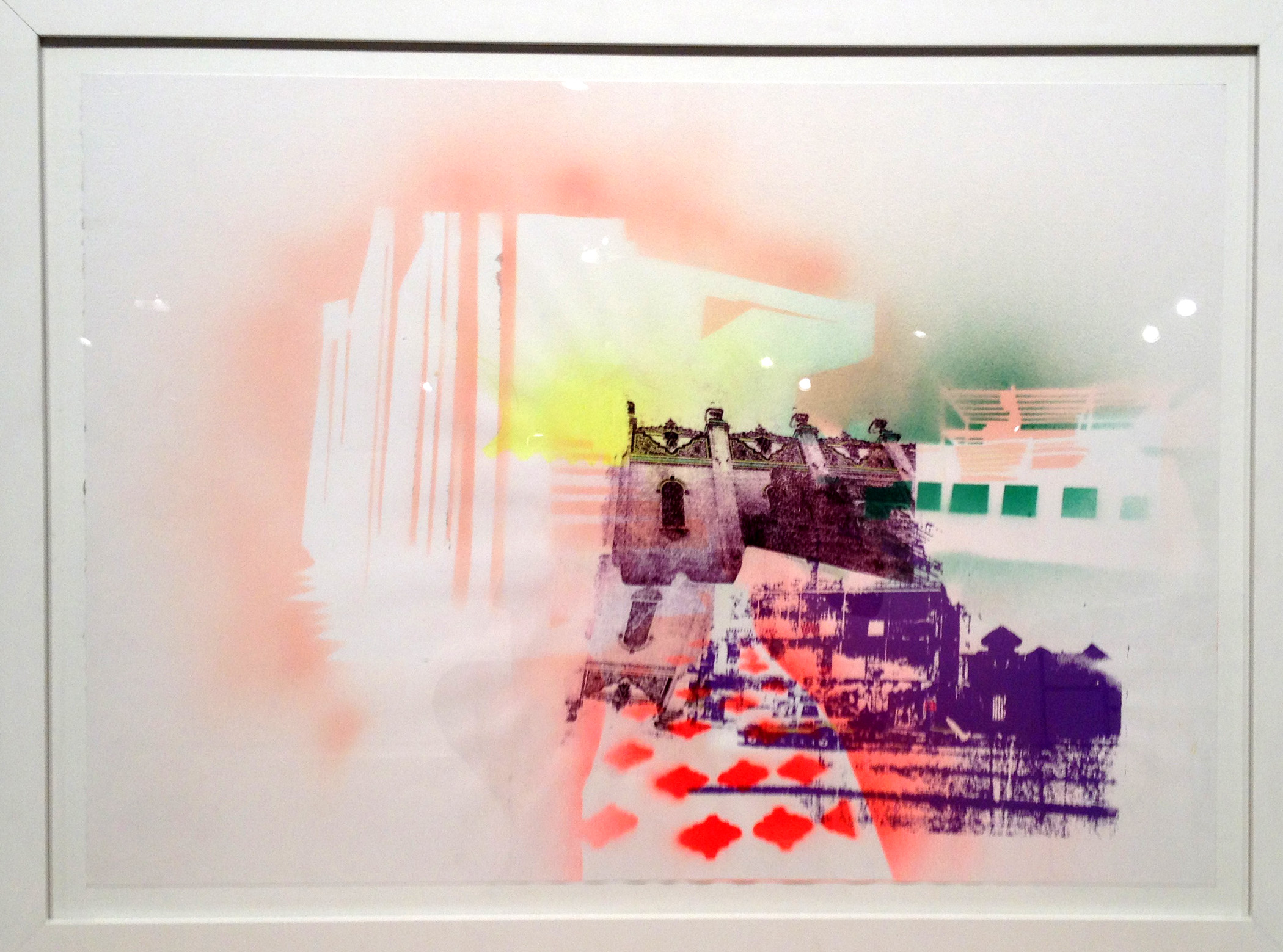 Jai Alai, a merry past time,  2014 Spray paint pochoir, screen print and paper lithography, 22 in H x 30 in W