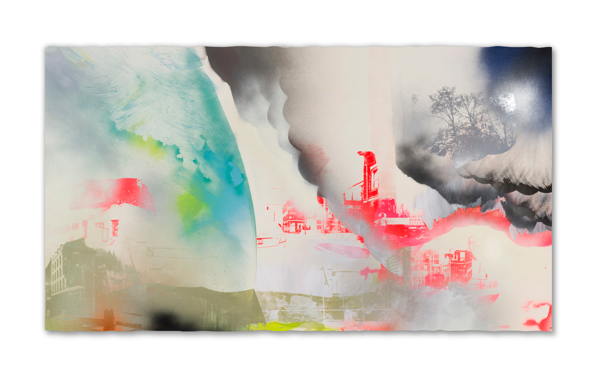 "Phosphorus ""runoff"" and favorable Lake conditions produce a bloom; the citizens of Toledo can't always drink the water,  2015 Screen print, paper lithography, acrylic, Sumi ink, spray paint and pencil on paper  57 in W x 42 in H"