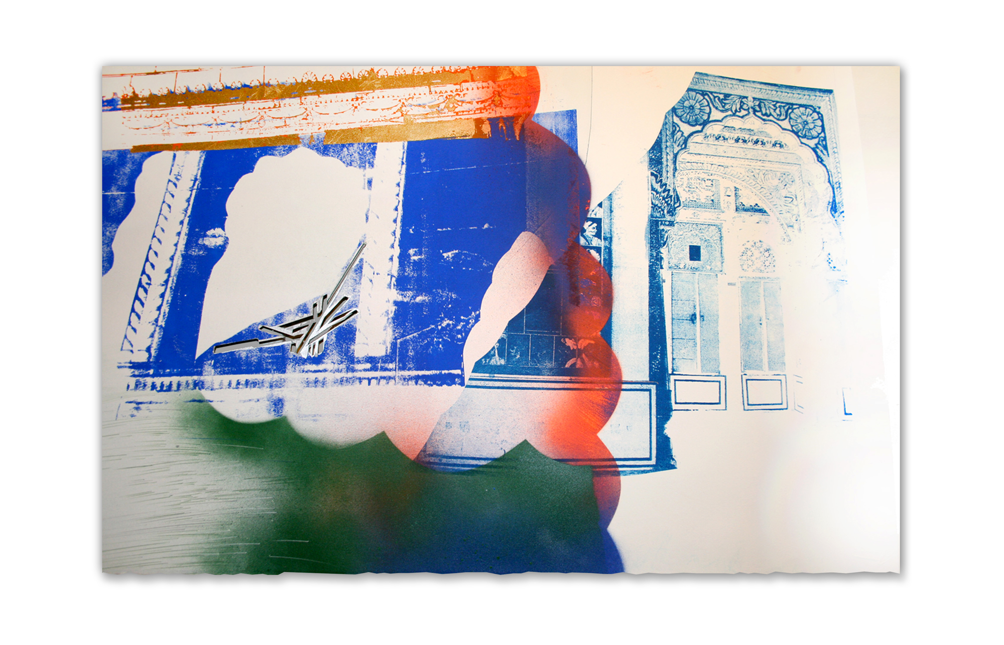 Door to door, it's 12–20 minutes from home to Zygote Press, if you take Superior Avenue; The new Lancer looks like a Mughal Palace #2,  2015.  Photo Litho, Screenprint and Painting on paper.