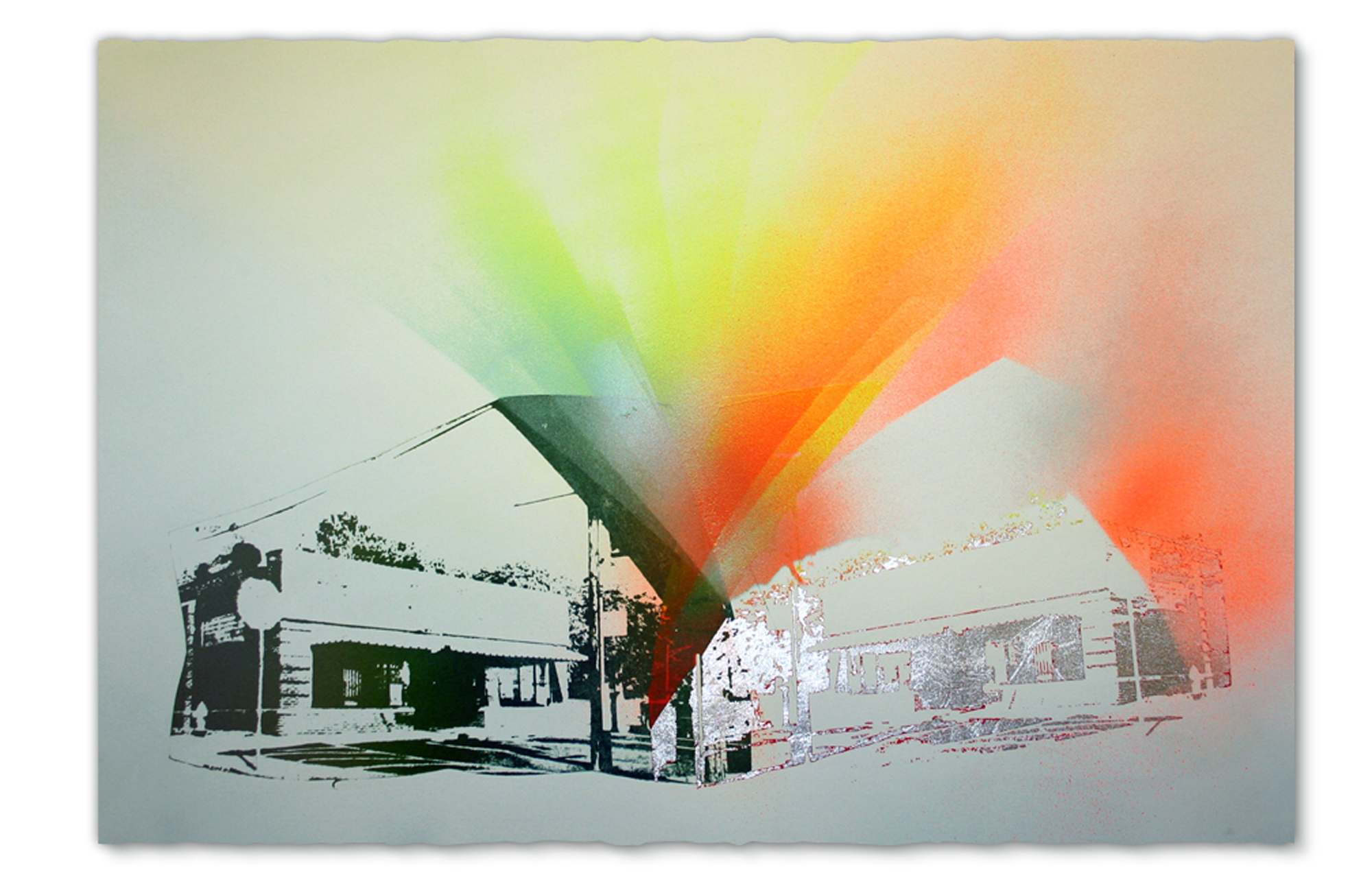 Tony's, East Peoria,  2015.  Photo lithography, screenprint, spray paint, and pencil, 15 in H x 22.5 in W