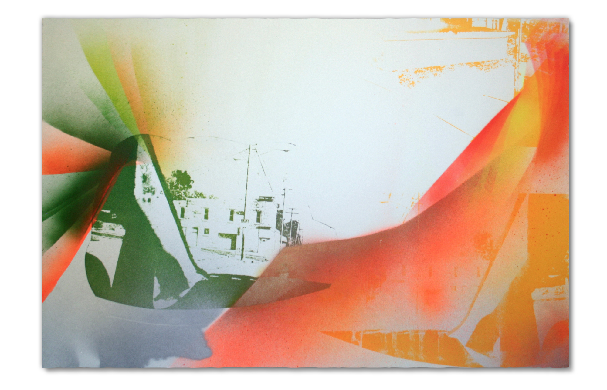 East Peoria (looks like CLE with Prairie light) , 2015. Photo lithography, screenprint, spray paint & pencil on Light Blue Stonehenge, 15 in H x 22.5 in W