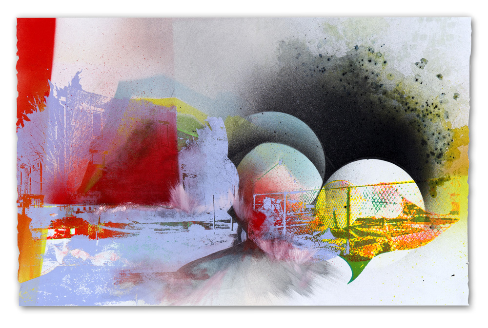 Peoria satellite corral, after the landing…,  2016  Screen print, spray paint, tusche and watercolor, 15 in H x 22.5 in W