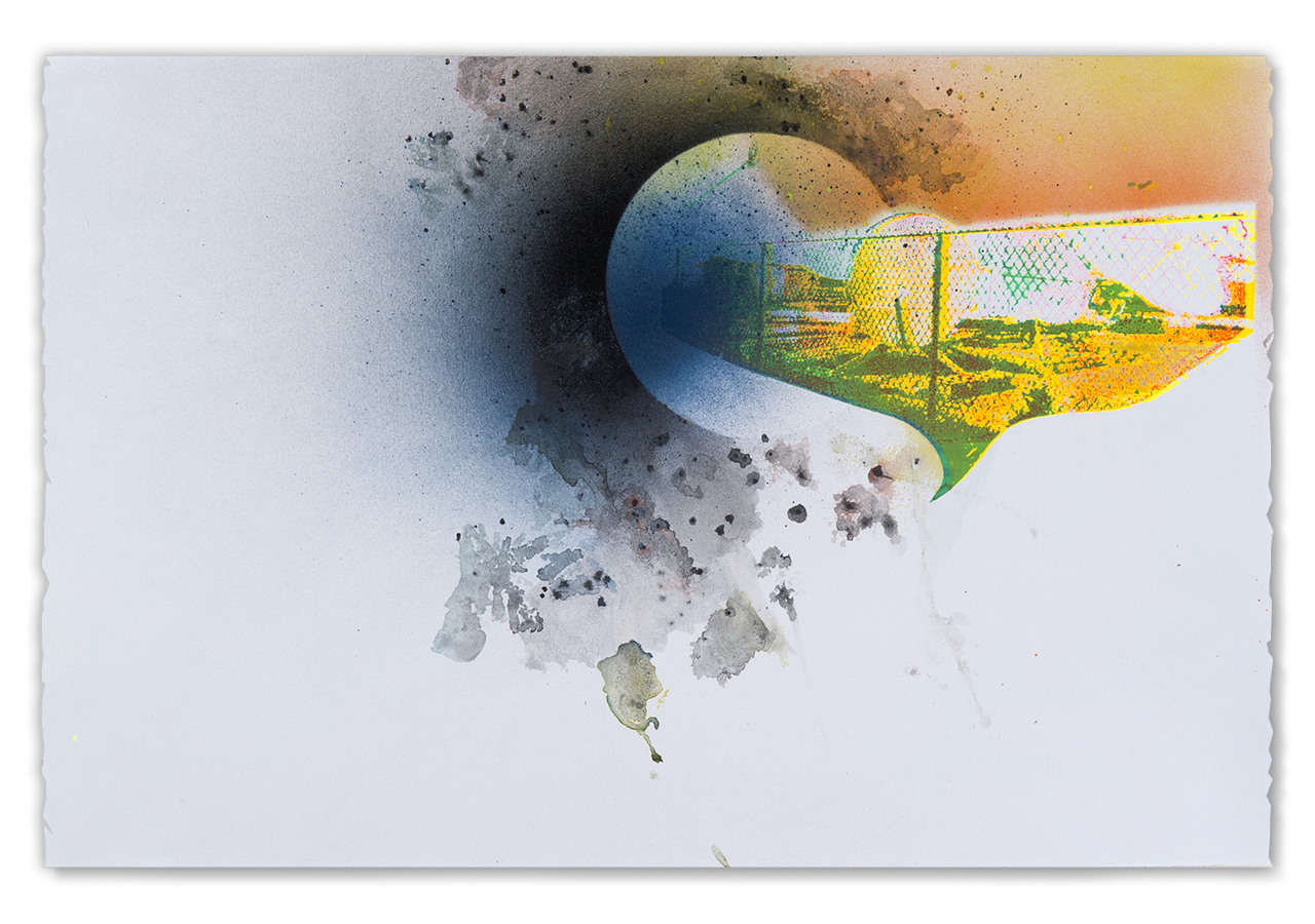 Peoria satellite corral, during the landing…,  2016  Screen print, spray paint, tusche and watercolor, 15 in H x 22.5 in W