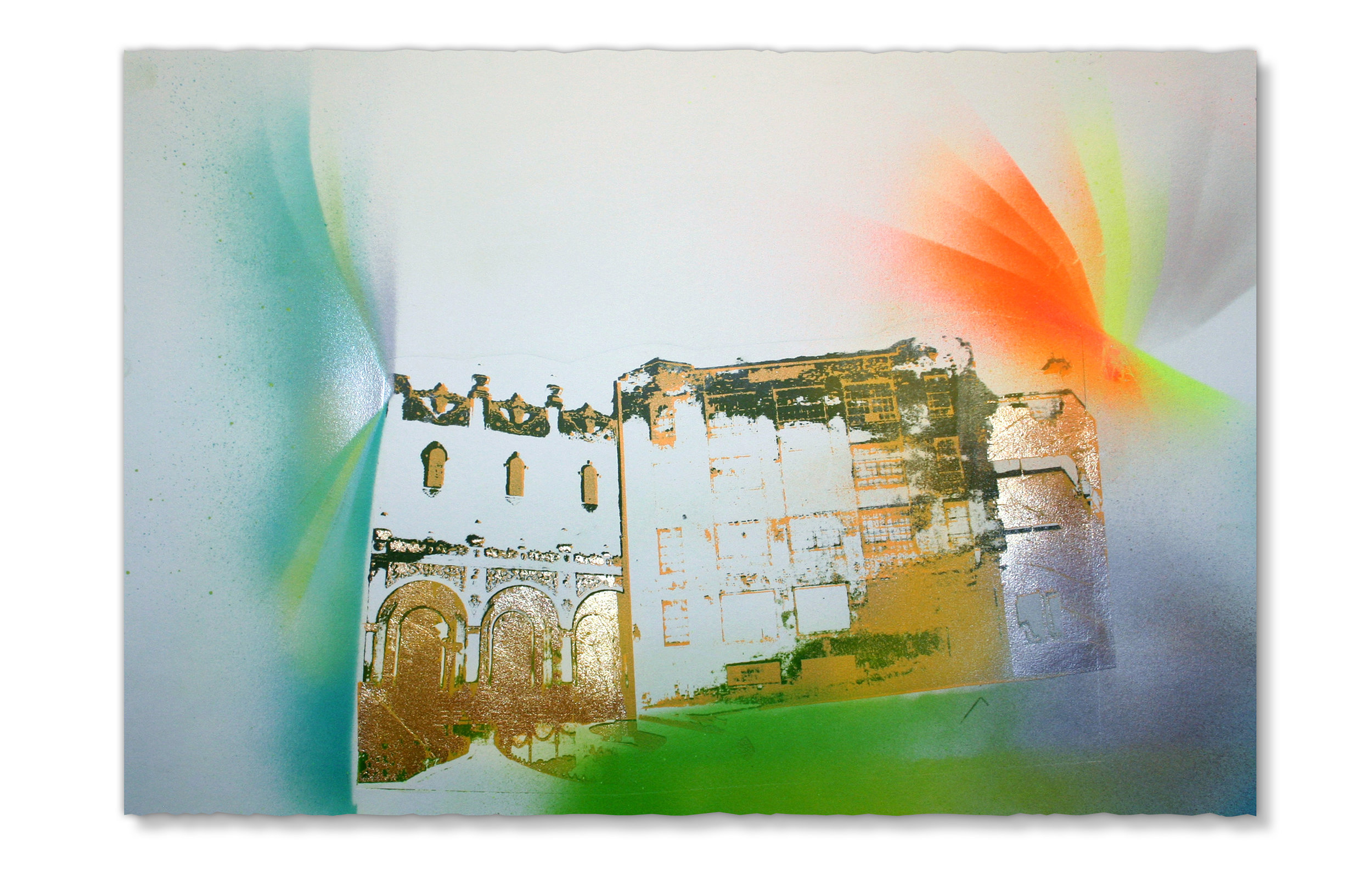 The warehouse across from PAG is almost the same color at Tijuana's Jai Alai stadium,  2015 Photo lithography, screenprint, spray paint and pencil, 15 in H x 22.5 in W