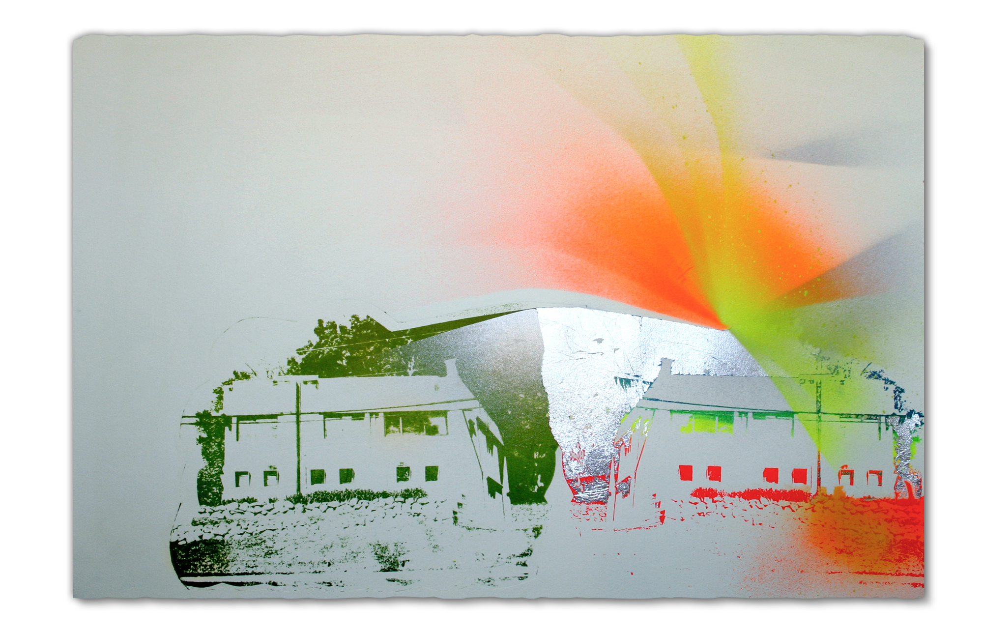 Architecture firm, East Peoria (I think),  2015 Photo lithography, screenprint, spray paint and pencil, 15 in H x 22.5 in W