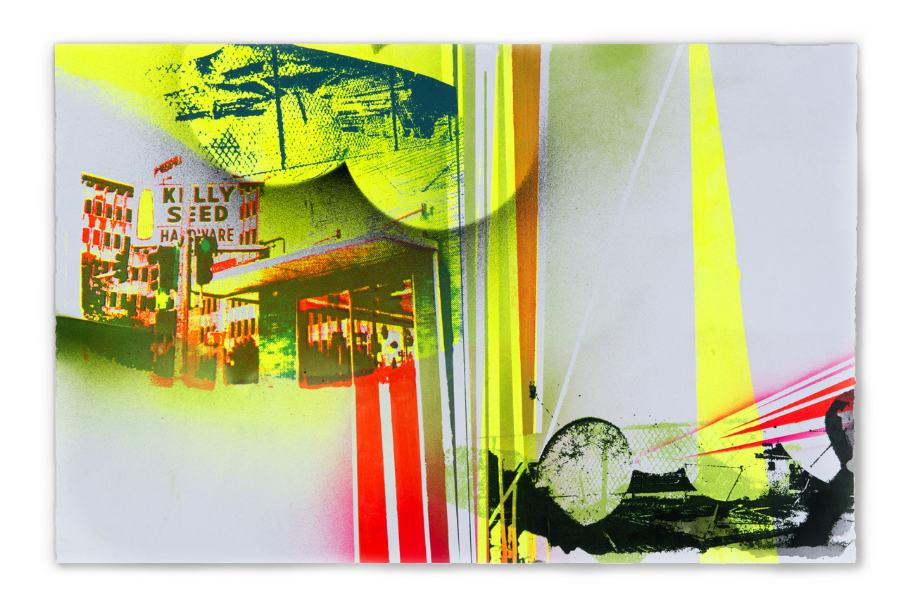 Kelly Seed Hardware, Downtown Peoria, before the landing…,  2016 Screen print, spray paint and watercolor, 15 in H x 22.5 in W