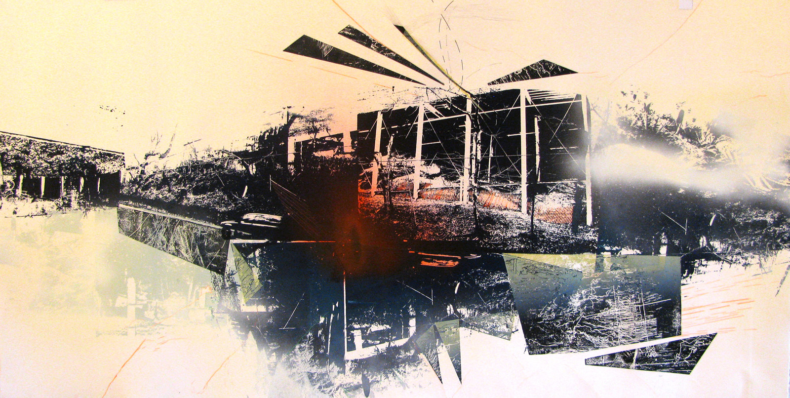 The back of those parking garages on the way up the hill, through Little Italy, 2013. Screenprint, intaglio, airbrush/spray paint and pencil, 48 in W x 28 in H