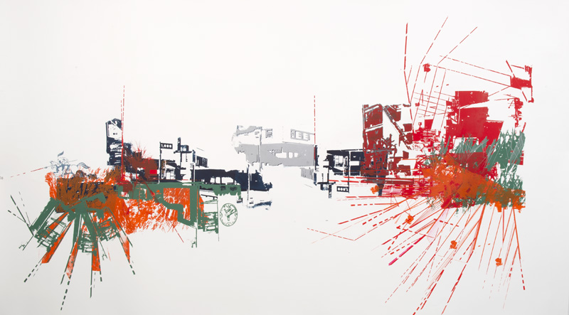 "Carnegie Avenue at E.79th, and a fond farewell to Global Bail Bonds (and the Lancer's former home),  2011, Mixed Media on Rives BFK, 42"" X 72"" Photo: Don Snyder"