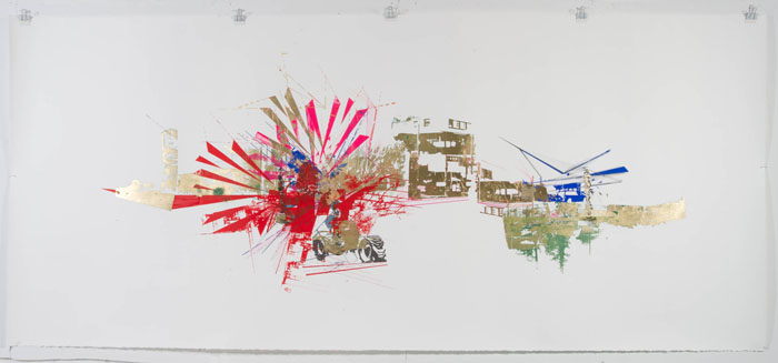 "From the future: What's on that stretch of Carnegie?,  2011, Mixed media on Rives BFK, 42"" X 96"""