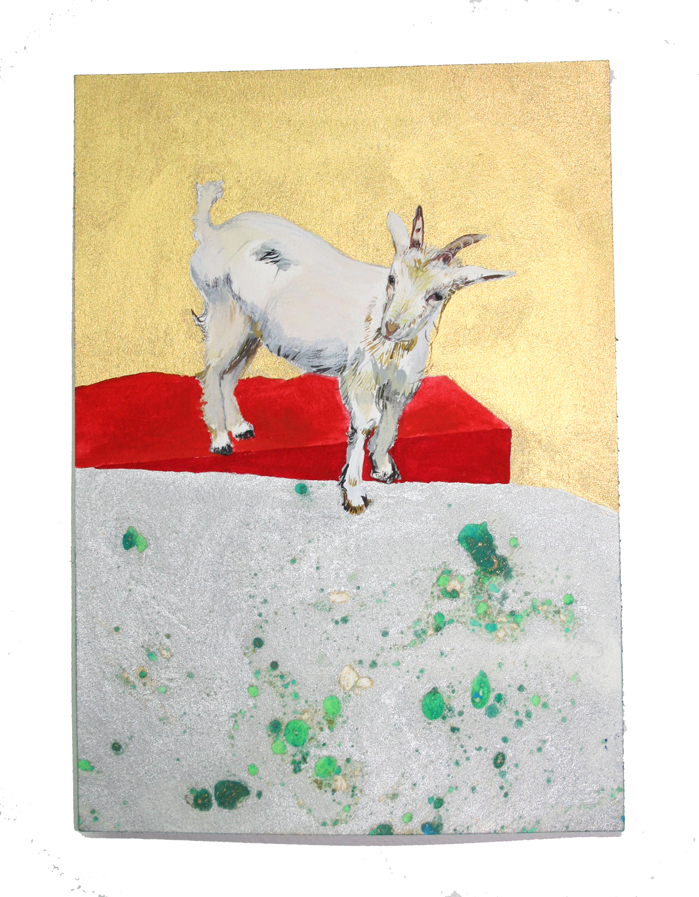 Noah the Goat  Gouache, Oil and Litho on paper, 5.5 in W x 8 in H