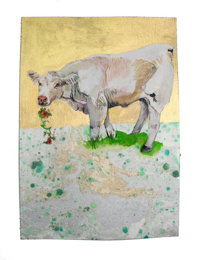 Champagne-Ardenne Vache  Gouache, Oil and Litho on paper, 5 in W x 8 in H