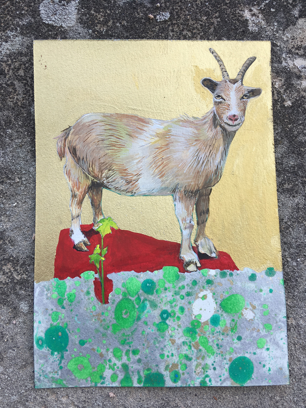 """Zoe the Goat"""" Gouache Oil and Litho on paper, 5.5 in W x 8 in H"""