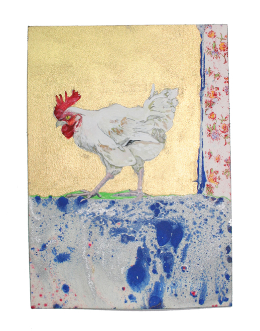 Chateau Coque (Pecking pose)  Gouache, Oil and Litho on paper, 5.5 in W x 8 in H
