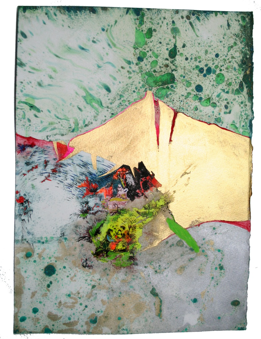 """""""Middle Income"""" Paysage Toile   Gouache, Oil, Acrylic, pencil and Litho on paper, 9 in W x 12.5 in H"""