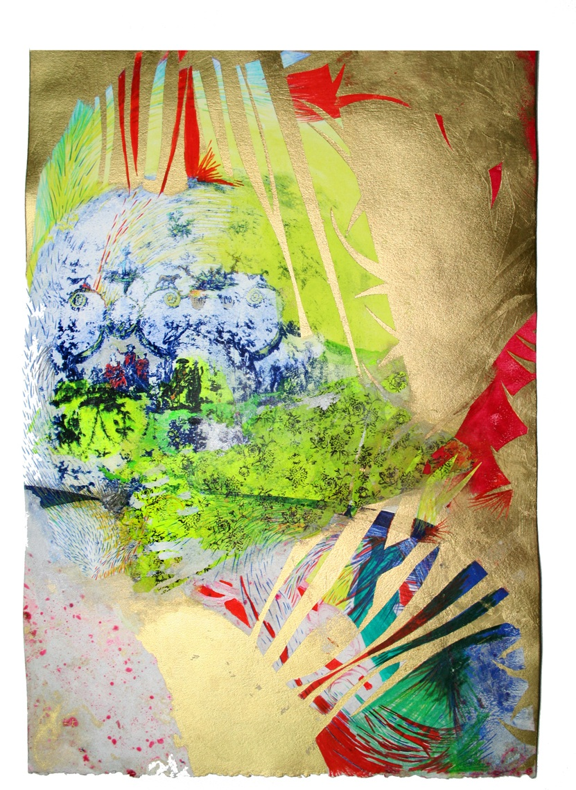 """""""Aristocratic"""" Paysage Toile, Numéro 3  Gouache, Oil, Acrylic, pencil and Litho on paper, 11 in W x 16 in H"""