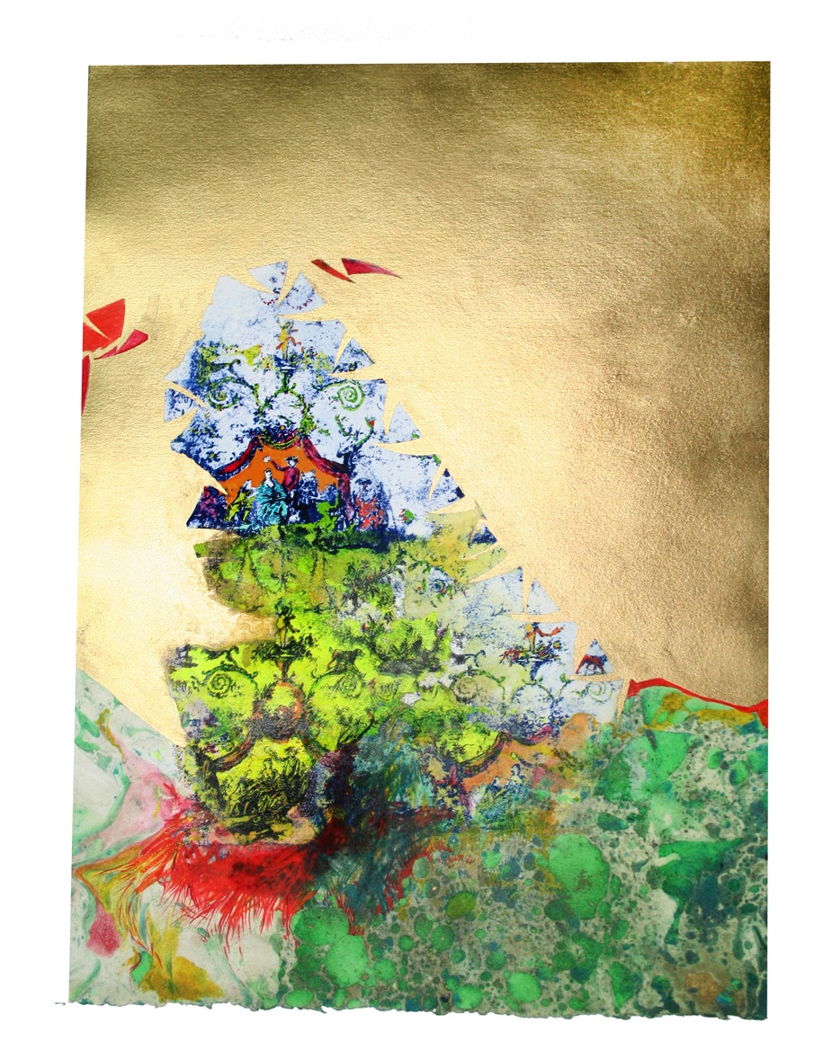 """""""Aristocratic"""" Paysage Toile, Numéro 2  Gouache, Oil, Acrylic, pencil and Litho on paper 11 in W x 15 in H"""