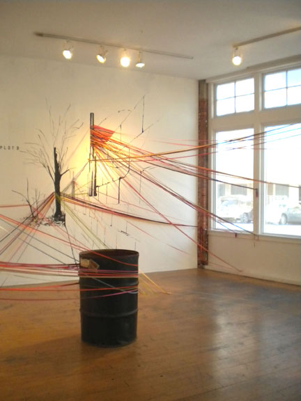 'Non-site' in-gallery representation of E. 69th Street vacant lot for Work Party 118.  Photo: SPACES Gallery Staff