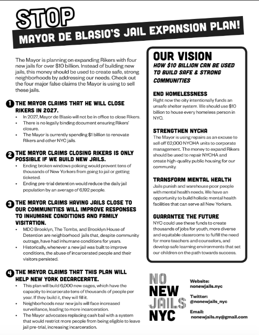Stop Mayor Bill De Blasio's Jail Plan One Pager