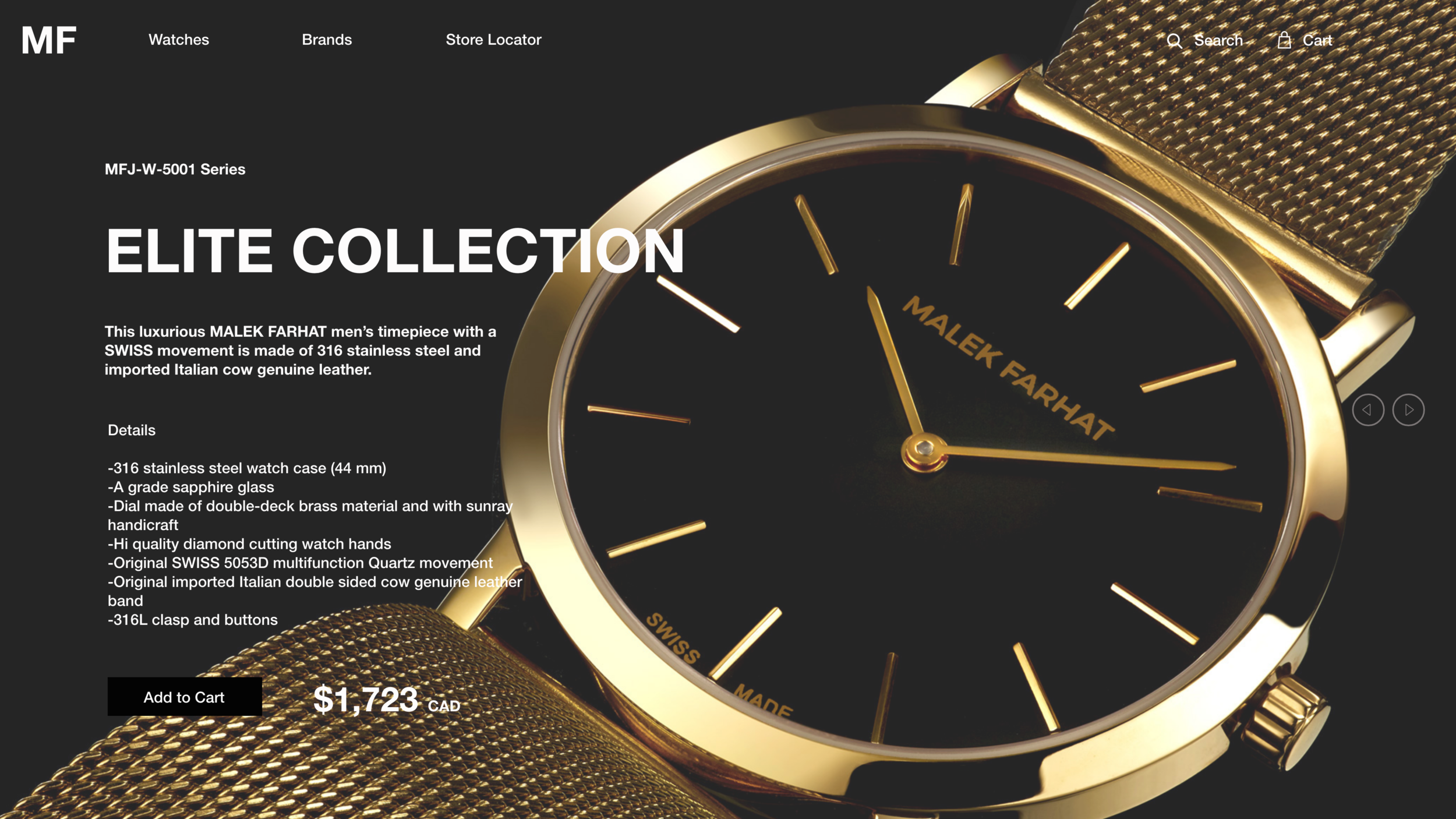 Product Webpage Design for Luxury Watch 2