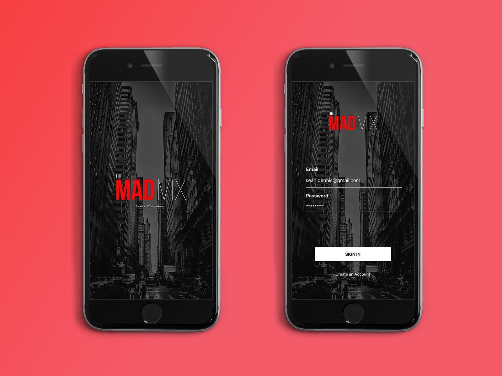 Log-in Screens for Mobile App