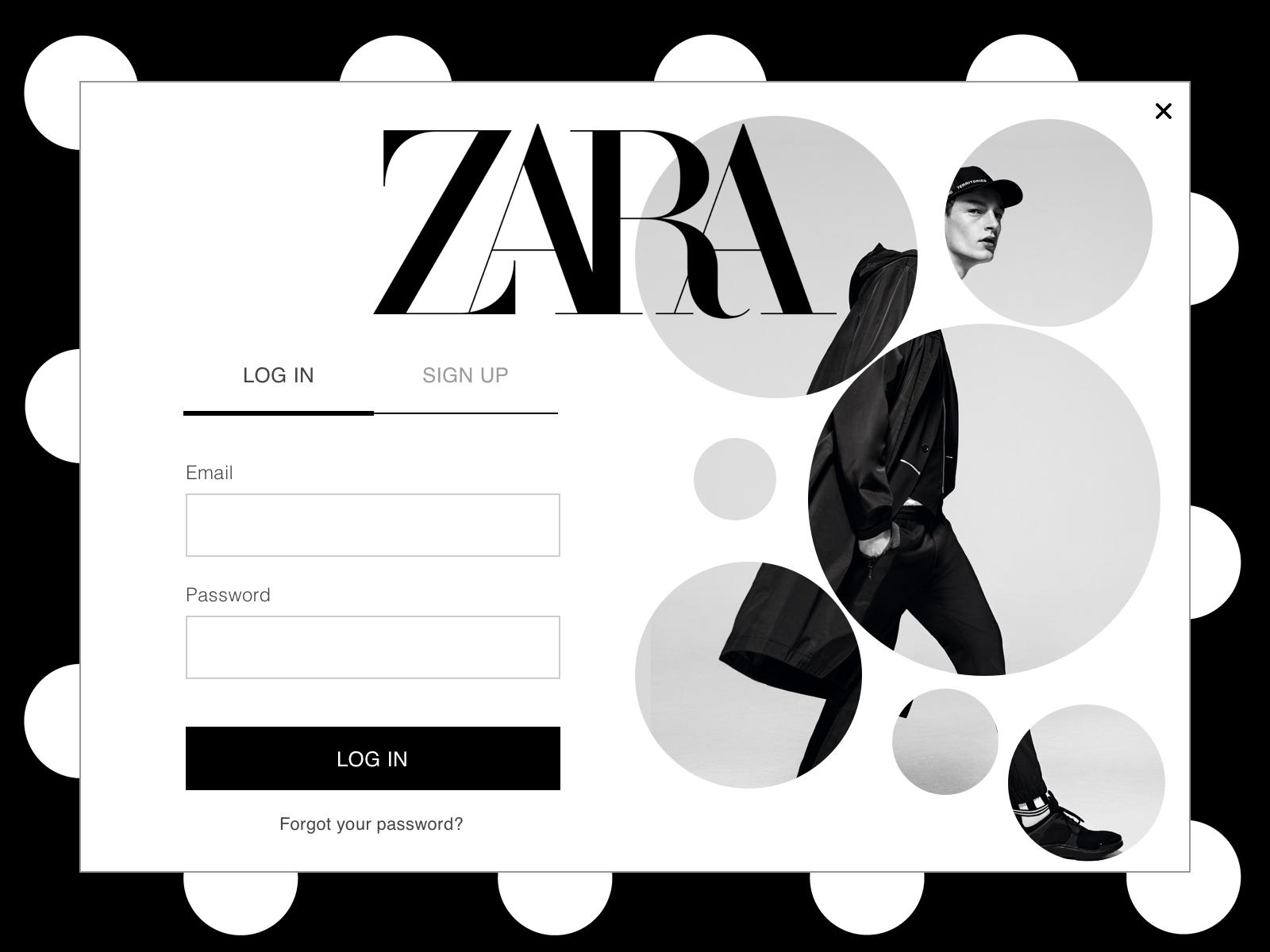 Zara Sign Up Webpage