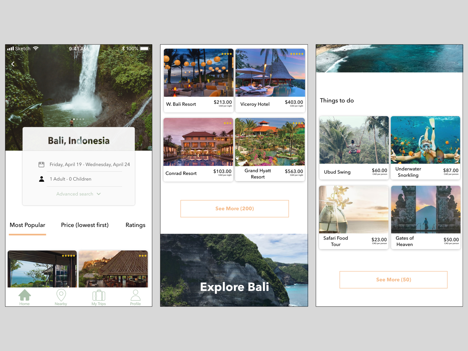 Hotel Travel Booking Mobile Page