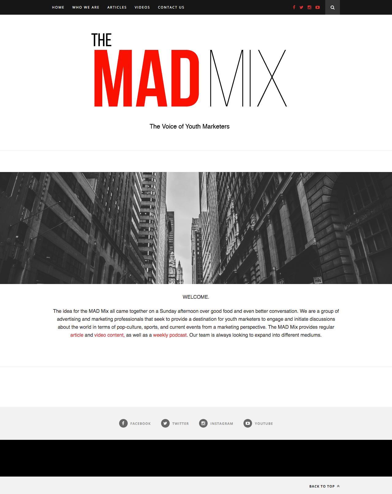 The MAD Mix Homepage Screenshot