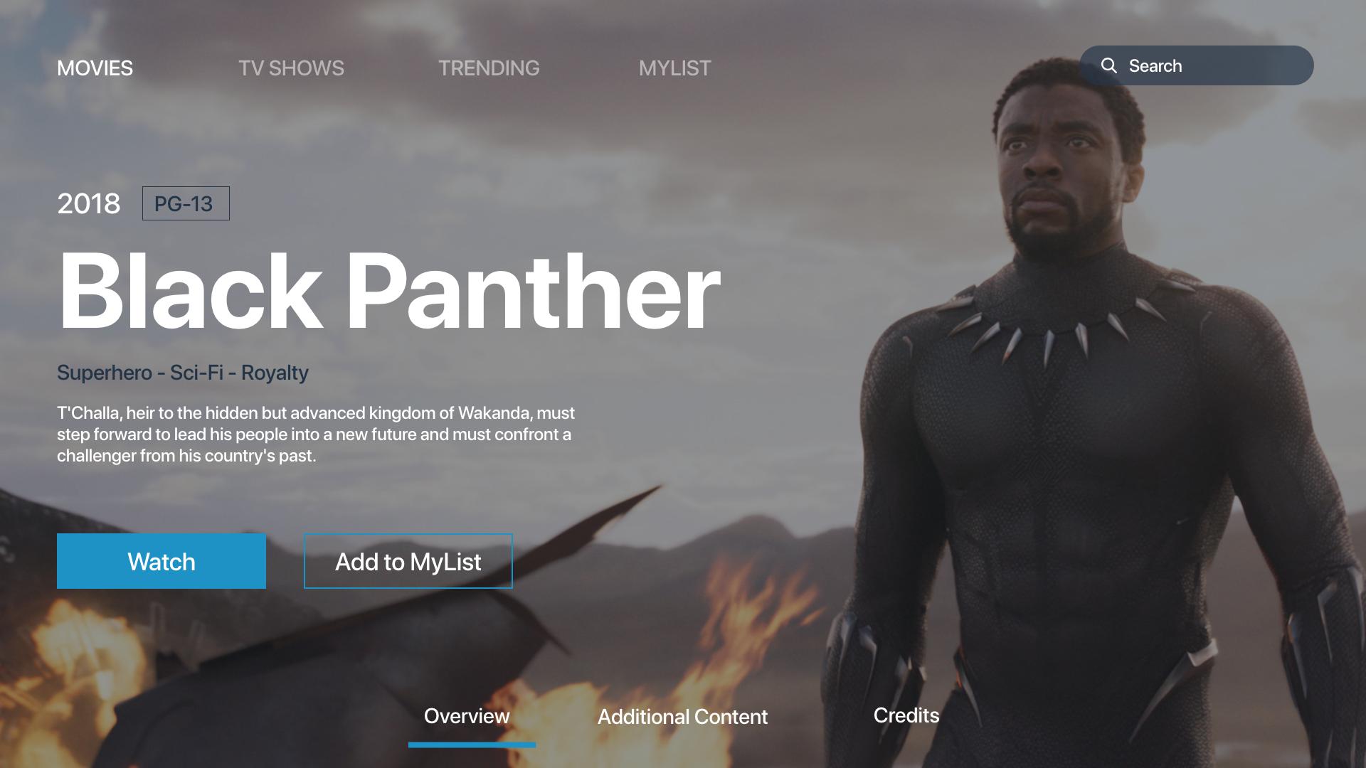 TV App Design - Black Panther