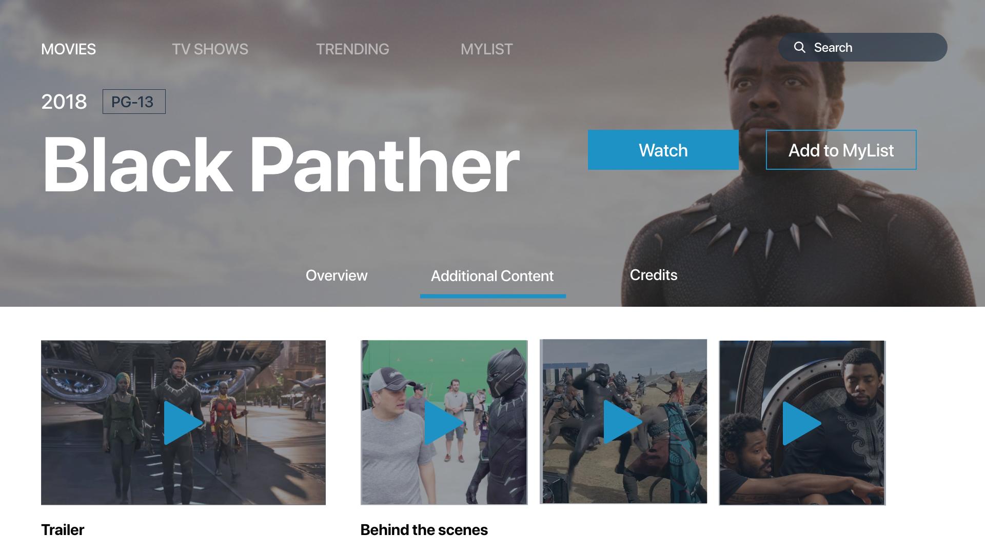 TV App Design - Black Panther 2