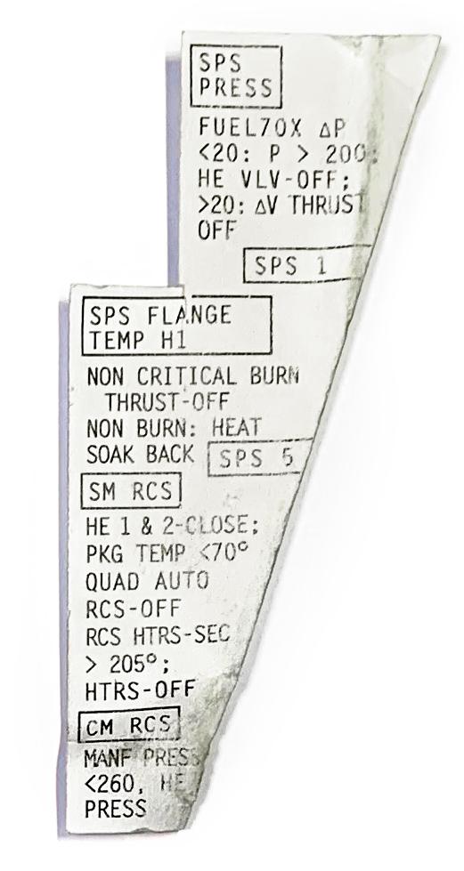 Cue cards to fit velcro in Apollo I, Apollo XI, and Gemini VIII panels