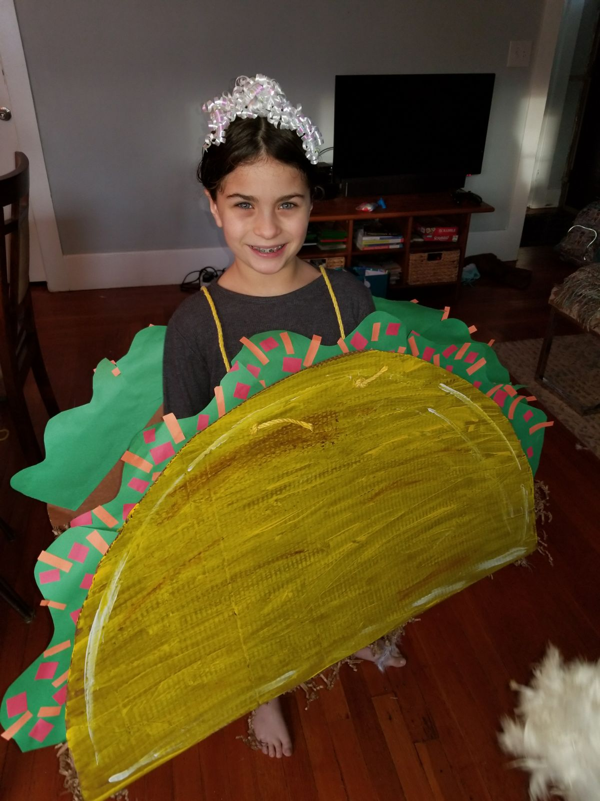 Max's niece Ella as a taco for Purim