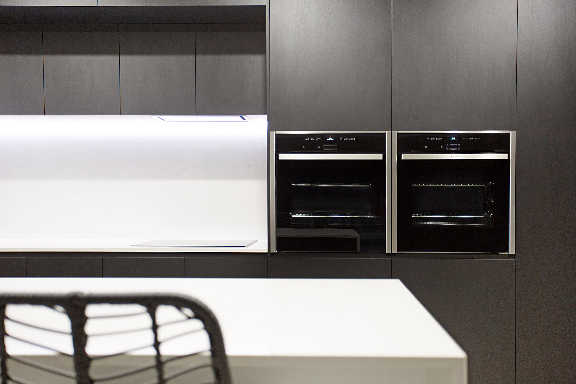 Modern Black Kitchen with marble splash back and LED lighting Gold Coast Building and Renovations