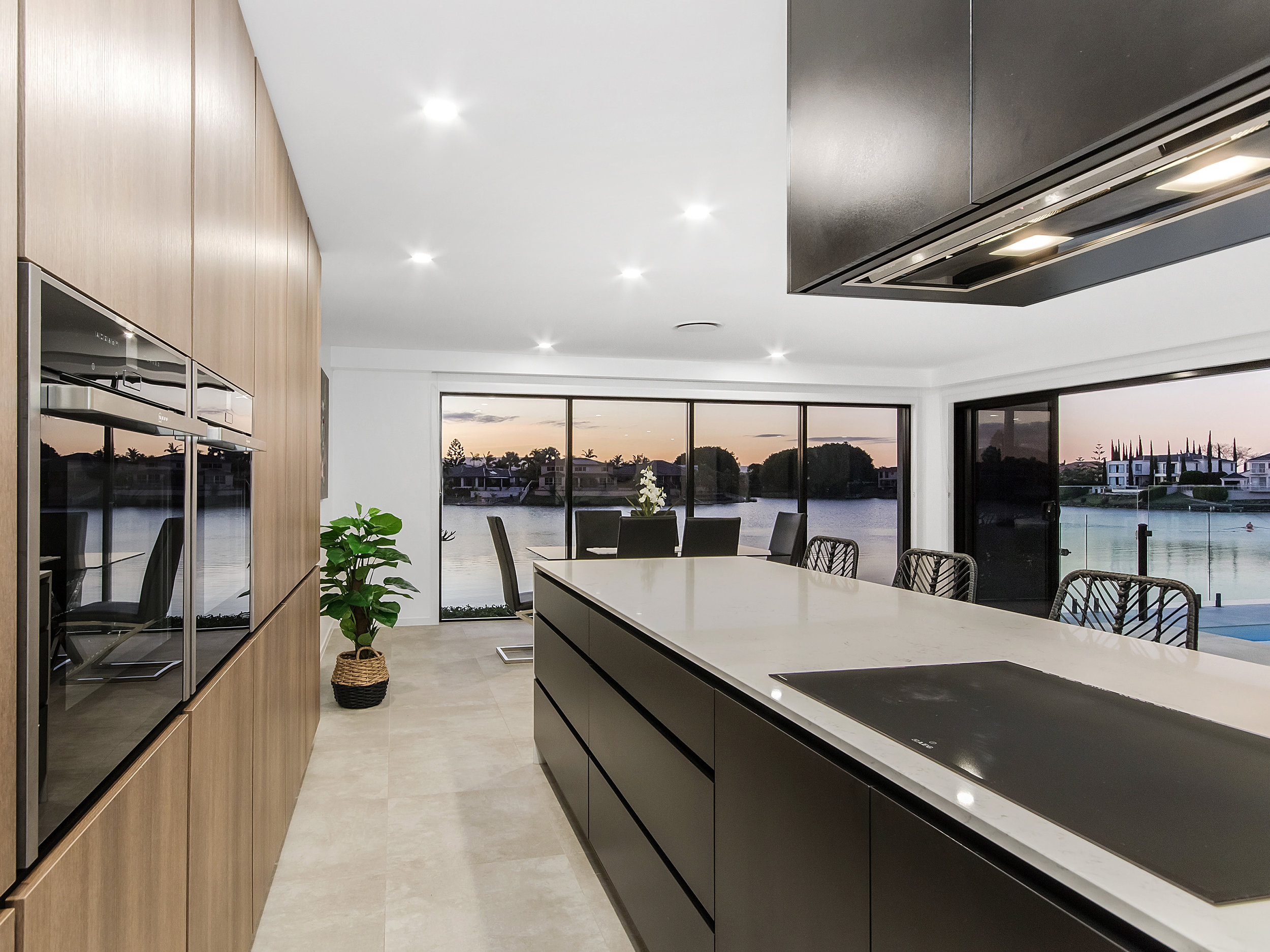 Modern Polytec kitchen with marble bench tops Gold Coast Building and Renovations