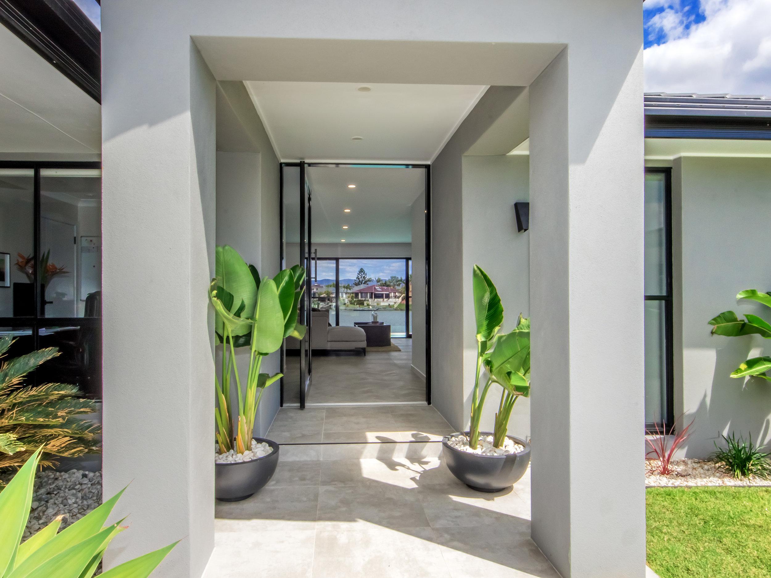 Modern glass custom made pivot door