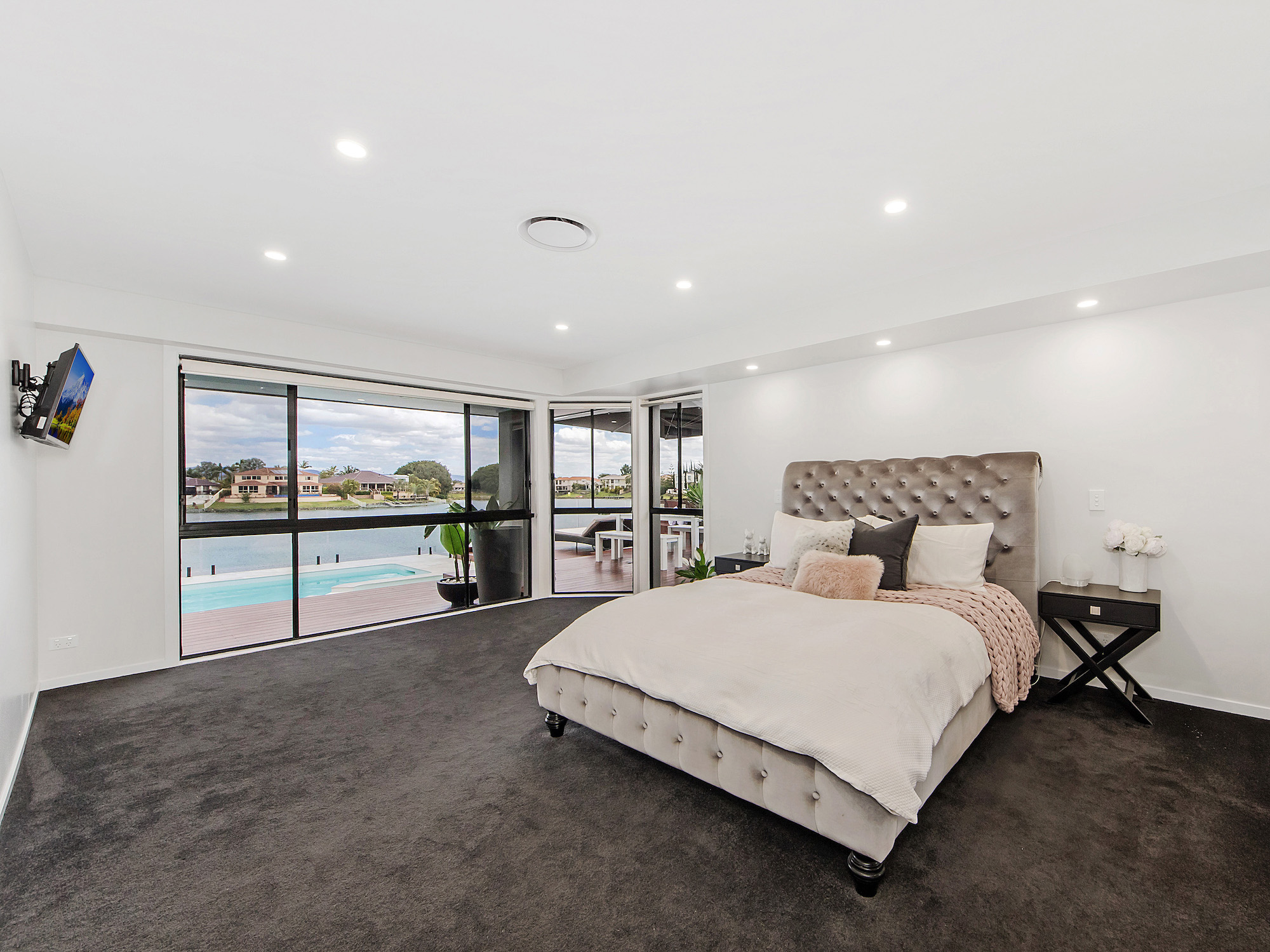 Master retreat or parents retreat overlooking a Gold Coast canal