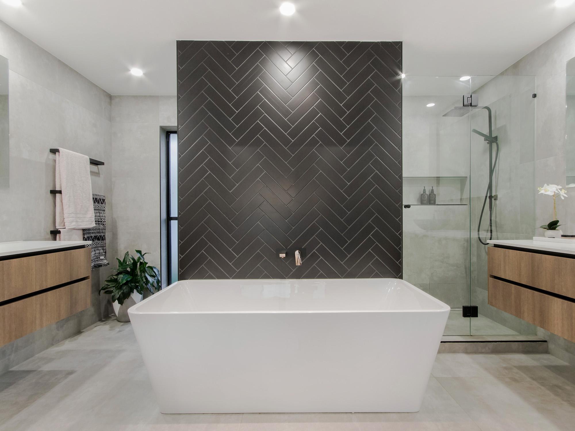 Stunning matt black herringbone feature tiles from Beaumont