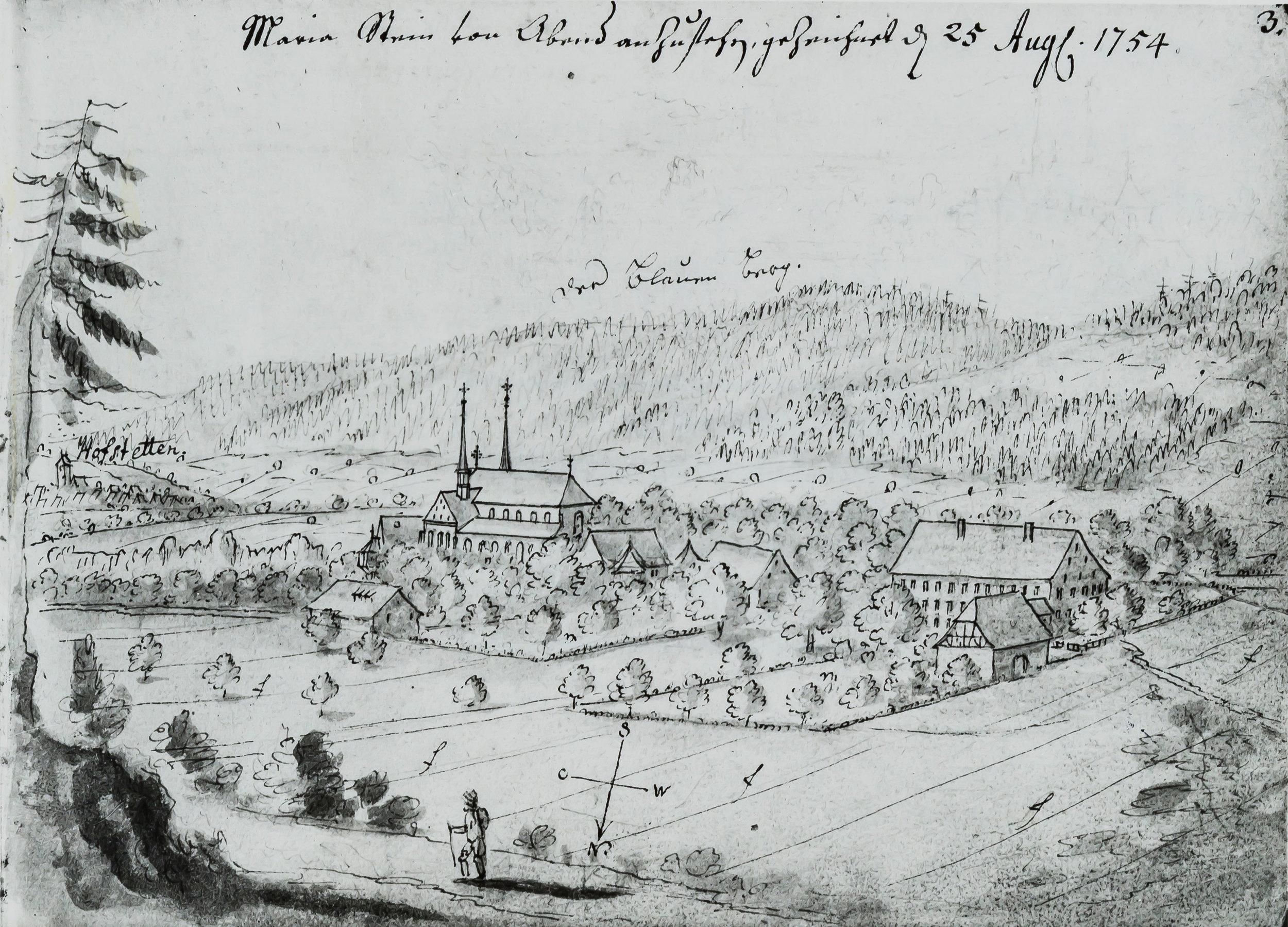 Ansicht Kloster Mariastein mit dem Pilgerwirtshaus zum Kreuz am rechten Bildrand. Federzeichnung. von Emanuel Büchel, 1754. Aus dem Kupferstichkabinett Basel