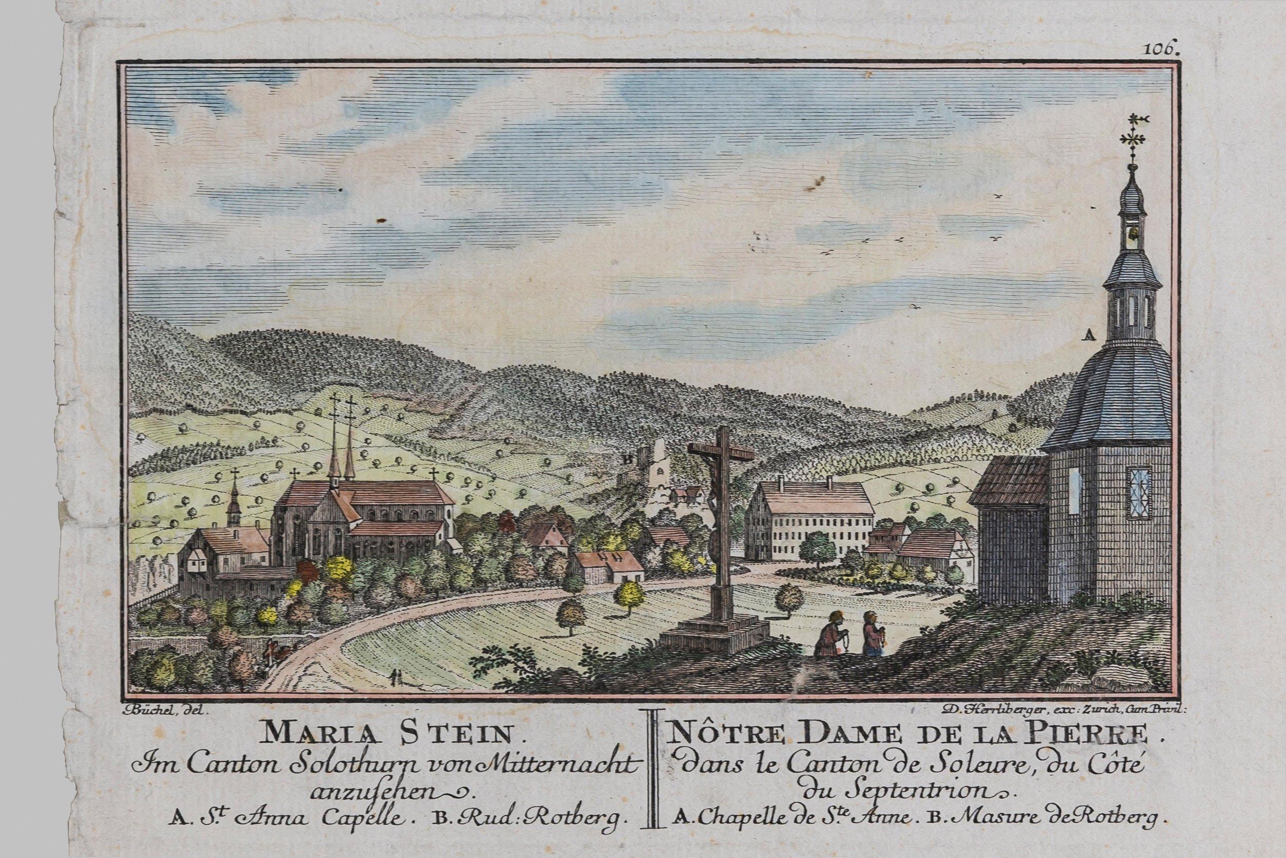 Kolorierter Kupferstich von David Herrliberger nach einem Kupferstich von Emanuel Büchel mit dem Pilgerwirtshaus im mittigen Hintergrund. 1754 aus dem Klosterarchiv Mariastein.