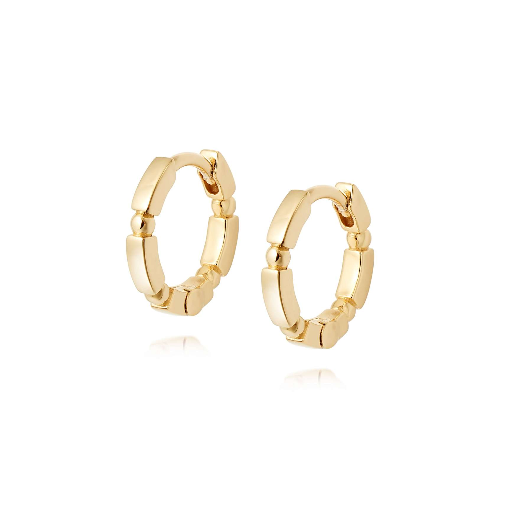 STACKED HUGGIE HOOPS 18CT GOLD PLATE -