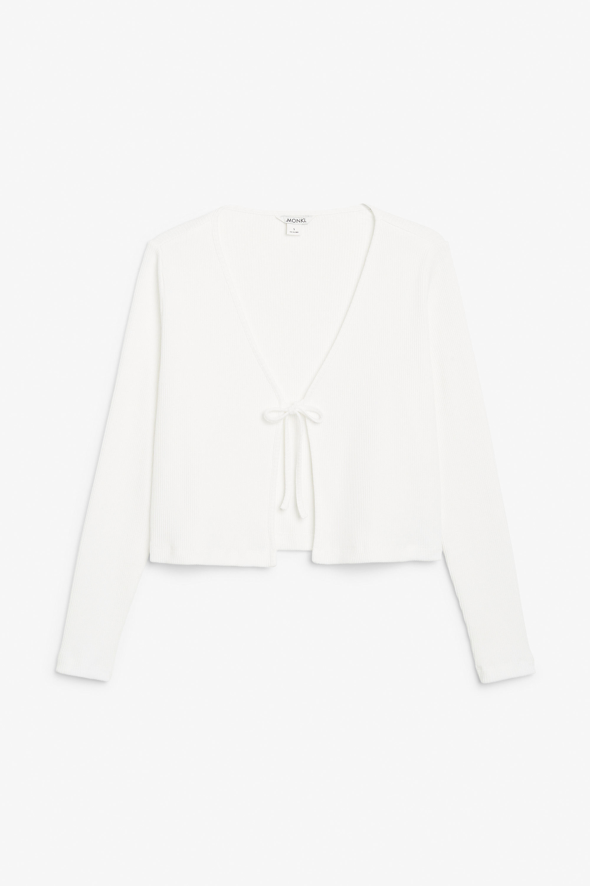 MONKI RIBBED TIE FRONT CARDIGAN - The white clothing obsession continues!