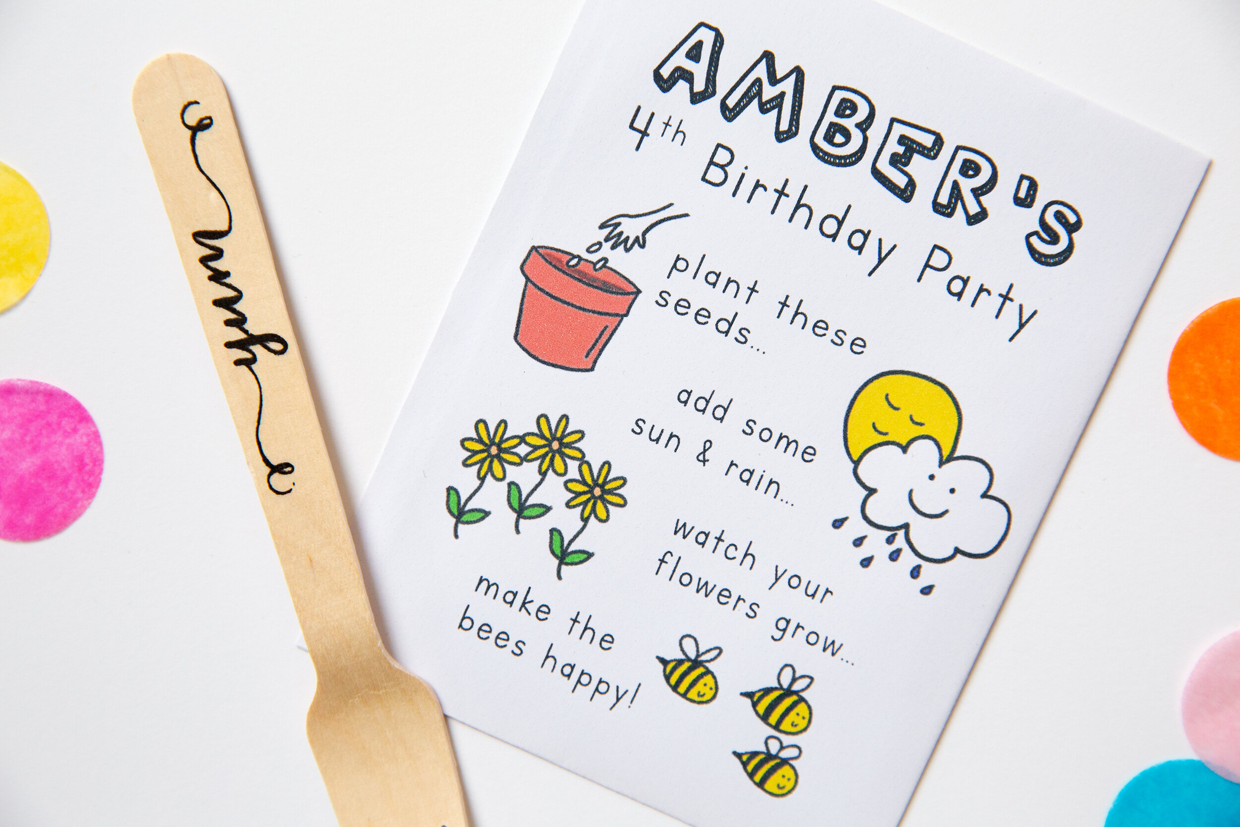 Wedding in a Teacup Amber Children Birthday Seed Packet