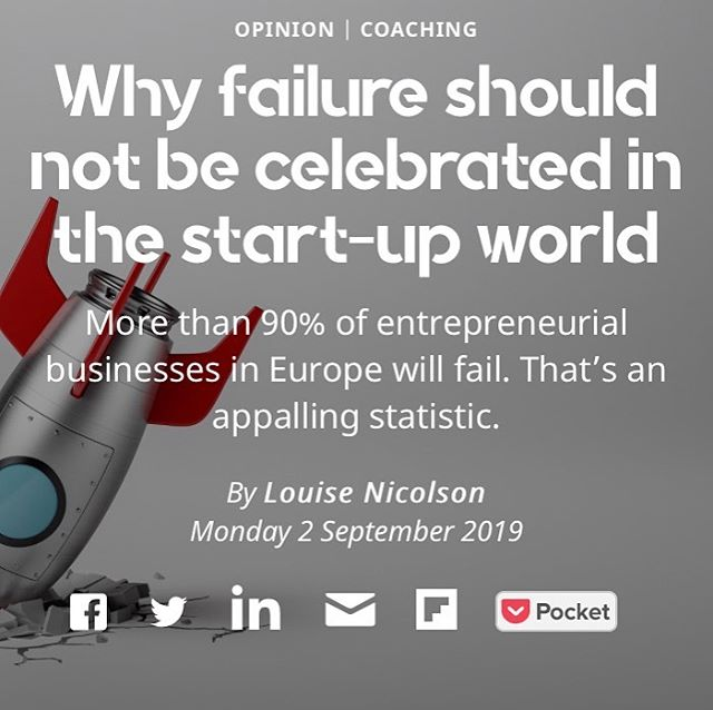 We shouldn't celebrate entrepreneurial failure - here's why - link in bio for my piece in @siftedeu - what do you think? DM me, share this article with someone who needs it, let's get this party started! #realbusinessmanifesto
