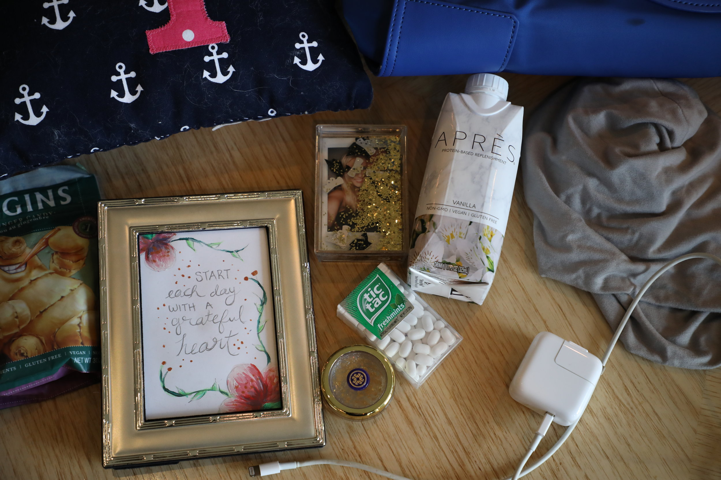 The items in Nicole Cummings' chemo bag were displayed on the table on March 16, 2019 at her home in Kansas City, Missouri. Cummings always brings several things and decorates her hospital room when having her chemotherapy.She said making this process an uplifting experience helps her to stay a positive mindset throughout.