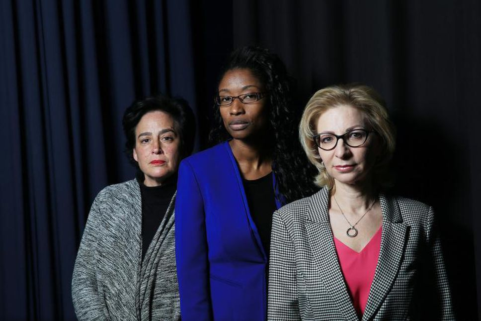 - Shari Schwartz-Maltz, left, chair of the TDSB's Jewish heritage committee, Rachel Luke, centre, co-chair of Liberation75's education committee, and Marilyn Sinclair, founder of Liberation75. (RENE JOHNSTON/TORONTO STAR)